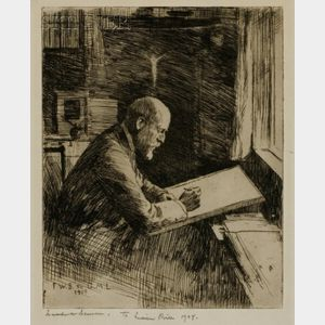Frank Weston Benson (American, 1862-1951)    Portrait of Charles Martin Loeffler