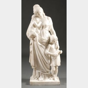 Italian Carved Carrara Marble of the Allegory of Charity