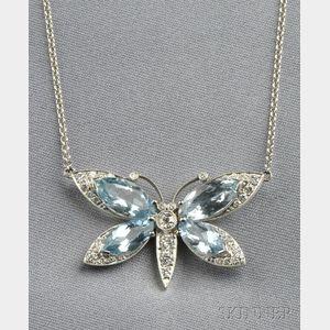 Platinum, Aquamarine, and Diamond Butterfly Pendant