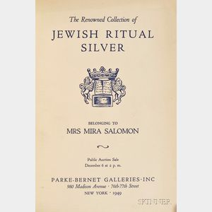 (Jewish Art) The Renowned Collection of Jewish Ritual Silver Belonging to  Mira