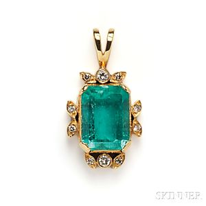 18kt Gold, Emerald, and Diamond Pendant