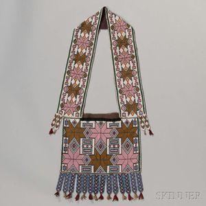 Winnebago Beaded Cloth Bandolier Bag
