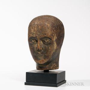 Carved Wood Head of Man