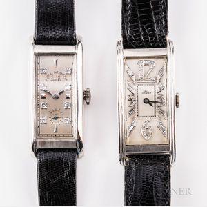Two Platinum and Diamond-set Paul Ditisheim Tank-style Wristwatches