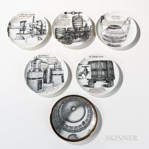 Six Piero Fornasetti (Italian, 1913-1988) Decorative Plates
