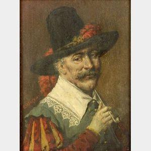 Eduard von Hagen (German, 1834-1909)  A Quiet Smoke/Cavalier With a Pipe.