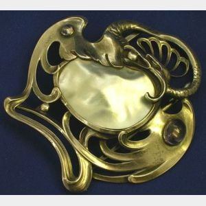 German Art Nouveau Style Silver Amethyst and Pearl Buckle.