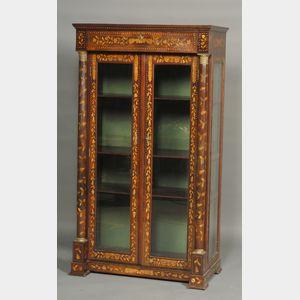 Dutch Fruitwood Marquetry Inlaid Walnut Display Cabinet