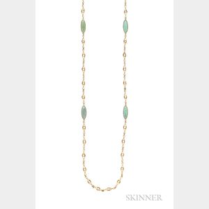 Art Nouveau 14kt Gold and Turquoise Long Chain