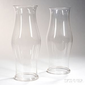 Near Pair of Large Blown Colorless Glass Hurricane Shades