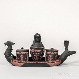 Modern Wedgwood Black and Terra-cotta Jasper Egyptian Inkstand