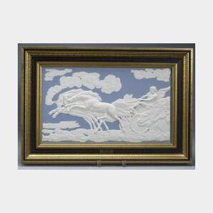 Modern Wedgwood Solid Light Blue Jasper Plaque of The Fall of Phaeton
