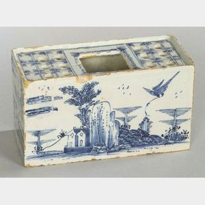 Delftware Blue and White Flower Brick