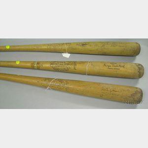 Three Vintage 1930s-1940s Hillerich & Bradsby Wooden Baseball Bats