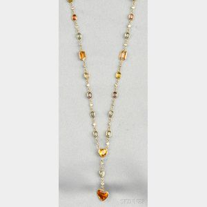 18kt Gold, Colored Sapphire, and Diamond Necklace