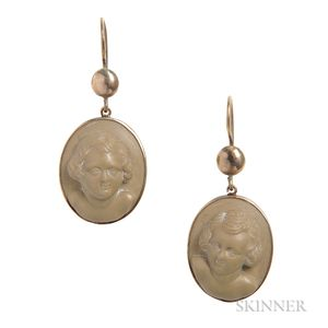 Antique Gold and Lava Cameo Earrings Carved by J.A. Greenough