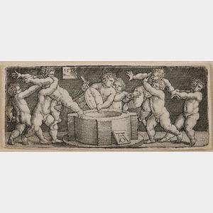 Heinrich Aldegrever (German, 1502-c. 1561)      Eight Nude Children at a Well