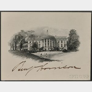 Harrison, Benjamin (1833-1901) Signed White House Card.