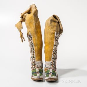 Pair of Cheyenne Woman's High-top Moccasins