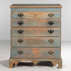 Blue-painted Pine Chest of Five Drawers