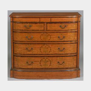 Edwardian Satinwood and Harewood Inlaid Bowfronted Chest