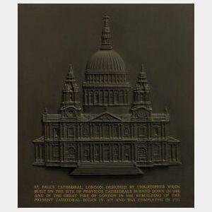Modern Wedgwood Black Basalt Plaque of St. Paul's Cathedral