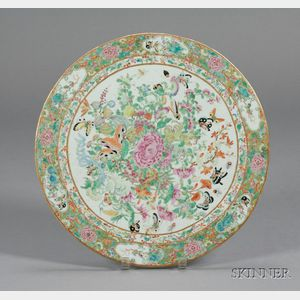 Large Round Chinese Export Porcelain Famille Rose Tile Table Insert
