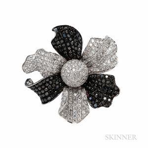 18kt White Gold, Black Diamond, and Diamond Flower Ring