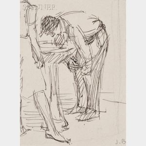 Isabel Bishop  (American, 1902-1988)      Lot of Three Studies of Figures at a Drinking Fountain