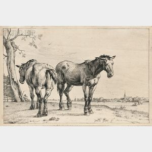Attributed to Paulus Potter (Dutch, c. 1625-1654)      The Plough Horses
