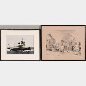 John Austin (American, 1918-2000) and S. Warren Krebs (American, 1936-2005)      Two Nantucket Works: Green Tug #2