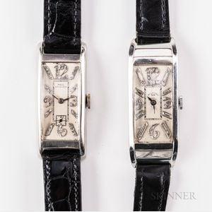 Two Platinum and Diamond Paul Ditisheim Tank-style Wristwatches