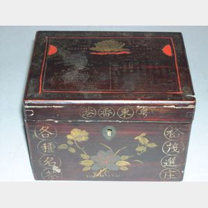 Chinese Export Lacquered Wood Tea Caddy.