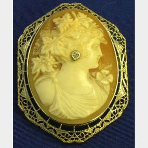14kt White Gold Filigree Mounted Carved Shell Cameo Brooch.