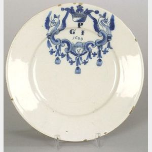 Dated Delftware Blue and White Plate