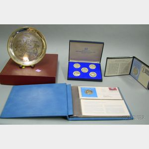 Group of Sterling Silver Commemorative Medals and Plate