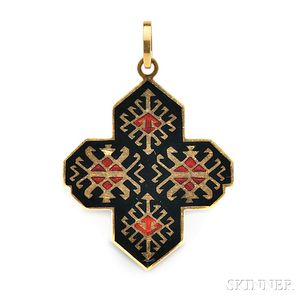 18kt Gold and Enamel Pendant, Cartier