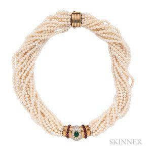 18kt Gold, Platinum, Diamond, and Gem-set Pearl Torsade Necklace