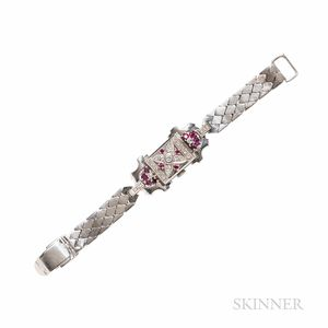 Retro 14kt White Gold, Ruby, and Diamond Covered Wristwatch