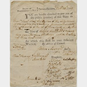 Adams, Samuel (1722-1803) Document Signed, 20 December 1779.