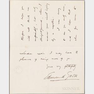 Gosse, Sir Edmund W. (1849-1928) Autograph Letter Signed, 8 August 1887.