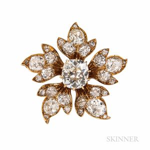 Antique Gold and Diamond Flower Brooch