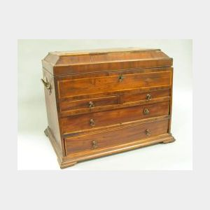 George III Mahogany Veneer and Inlaid Trinket Chest over Four Drawers.