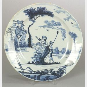 London Delftware Blue and White Figural Plate