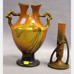 Roseville Pottery Pine Cone Double Handled Vase and a Roseville Pottery Bushberry Bud Vase.
