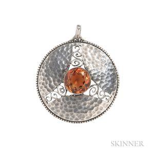 Jugendstil Silver and Citrine Pendant, Theodor Fahrner