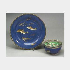 Two Wedgwood Powder Blue Lustre Decorated Bone China Items