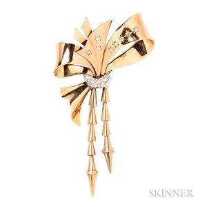 Retro 18kt Gold, Platinum, and Diamond Bow Brooch