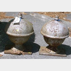 Pair of Silver Painted Cast Iron Orb Finials