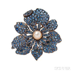 Antique Gold, Sapphire, and Pearl Flower Brooch